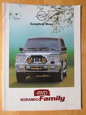 SSANGYONG Family c1993 orig South Korean sales brochure - English text