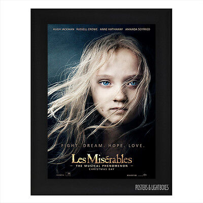 LES MISERABLES Framed Film Movie Poster A4 Black Frame