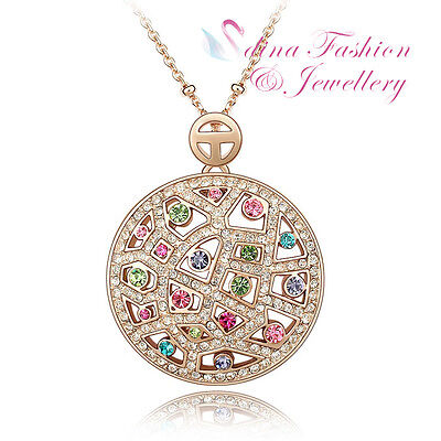 18K Rose Gold Plated Made With Swarovski Crystal Colourful Round Moon Necklace