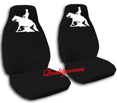 FRONT SET  CAR SEAT COVERS W / REINING HORSE CHOOSE YOUR COLOR