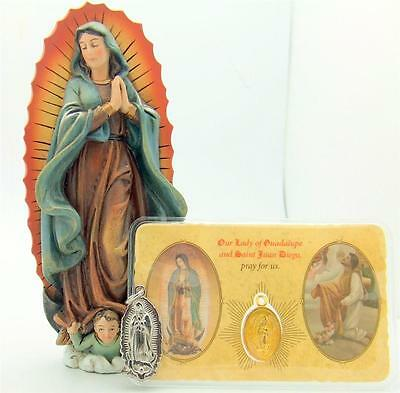 "MRT Our Lady Of Guadalupe 3 Item 4"" Statue Medal & Holy Card Religious Gift Lot"