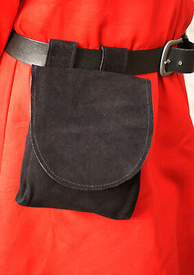 Medieval/LARP/SCA/Pagan/WICCA/Merchant/Archer Large BLACK LEATHER POUCH-BAG