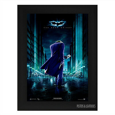 BATMAN THE DARK KNIGHT JOKER IN STREET Framed Film Movie Poster A4 Black Frame
