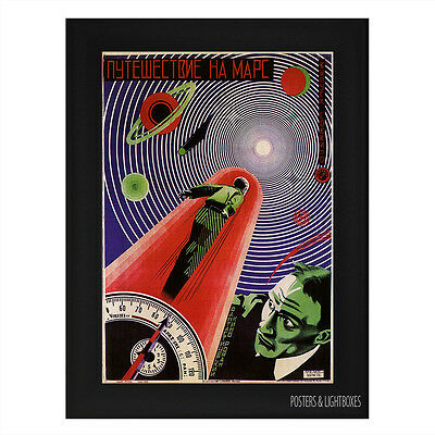 JOURNEY TO MARS RUSSIAN CLASSIC Framed Film Movie Poster A4 Black Frame