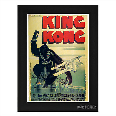 KING KONG 1933 FRENCH CLASSIC Framed Film Movie Poster A4 Black Frame