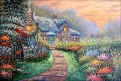Stretched, Cottage with Flowering Garden, Hand Painted Oil Painting 24x36in