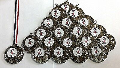 20 X Junior Football Medals - Silver Metal With Ribbons + FREE P&P