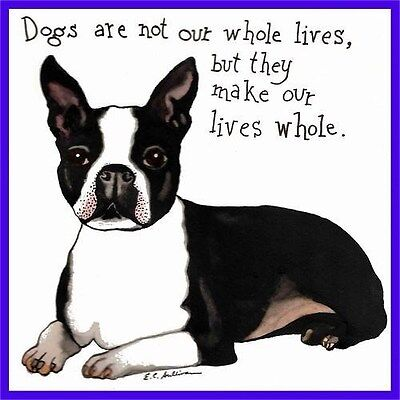 """Boston Terrier -Matted 5""""X5"""" Print of Dog Watercolor Painting E C Sullivan"""