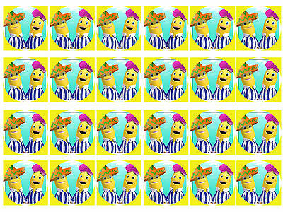 Banana in pyjamas Cupcake Edible Icing Party Cake Topper Decoration Image Custom
