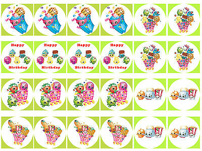 Shopkins Cupcake Edible Icing Party Cup Cake Topper Decoration Image Custom