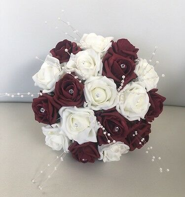 Artificial Bridesmaid Flowers Burgundy Ivory Rose Wedding Bouquet Posie Pearls