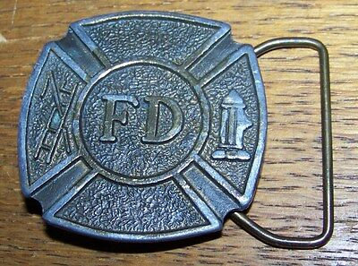 VINTAGE FIRE DEPARTMENT FIREMAN BRASS BELT BUCKLE
