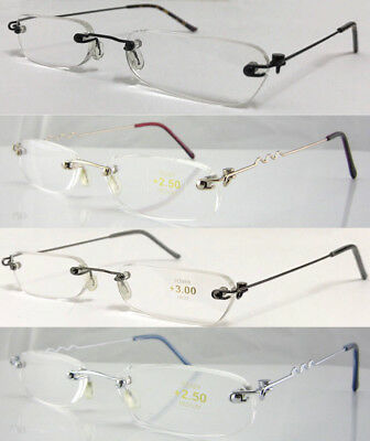 L64 Superb Quality Rimless Slim Reading Glasses Flexible steel arm+Aluminum Case