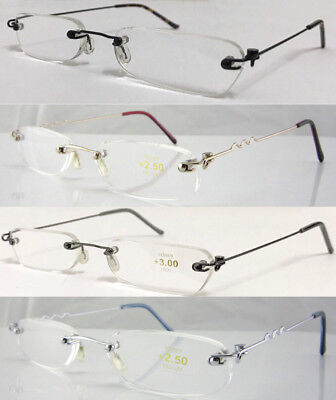 L64 Superb Thin Lightweight Rimless Slim Reading Glasses Flexible Steel Arms
