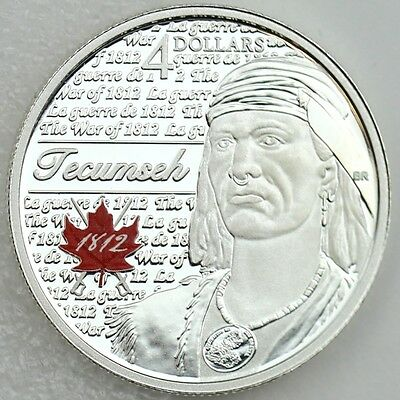 2012 $4 Tecumseh - Portraits of 1812 - 99.99% Pure Silver Color Proof Coin