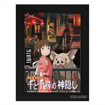 SPIRITED AWAY JAPANESE Framed Film Movie Poster A4 Black Frame
