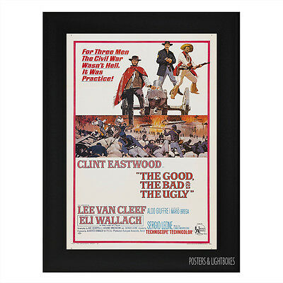 THE GOOD THE BAD AND THE UGLY Framed Film Movie Poster A4 Black Frame