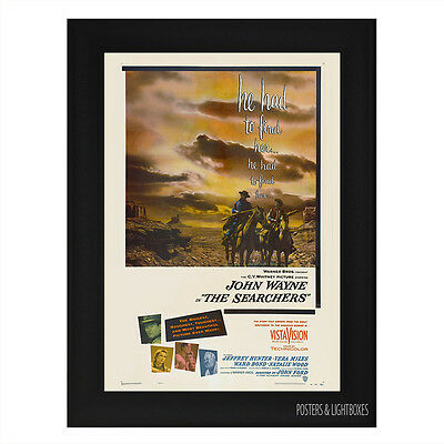 THE SEARCHERS JOHN WAYNE CLASSIC Framed Film Movie Poster A4 Black Frame
