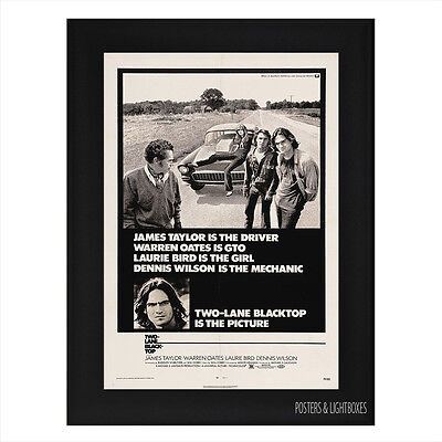 TWO LANE BLACKTOP Framed Film Movie Poster A4 Black Frame