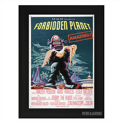 THE FORBIDDEN PLANET Framed Film Movie Poster A4 Black Frame