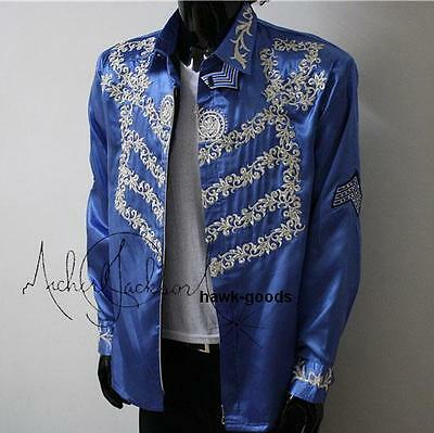 New!!michael Jackson This Is It High-Quality Embroidered Blue Jacket