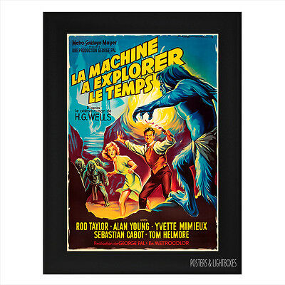 THE TIME MACHINE FRENCH Framed Movie Film Poster A4 Black Frame