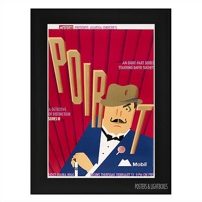POIROT MASTERPIECE 1922 CLASSIC Framed Movie Film Poster A4 Black Frame
