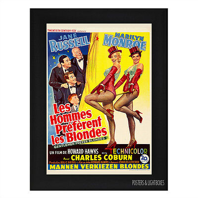 GENTLEMEN PREFER BLONDES BELGIAN CLASSIC Framed Movie Film Poster A4 Black Frame