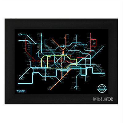 TRON LEGACY LONDON UNDERGROUND TUBE MAP Framed Film Movie Poster A4 Black Frame