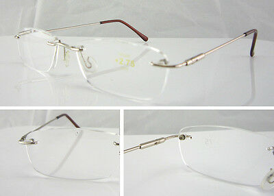 L68 Superb Quality Rimless Reading Glasses/ Spring Hinges & Stainless Steel Arms