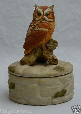 Vintage Napco Brown Owl Trinket Box # 542 - MARKED OUSTANDING
