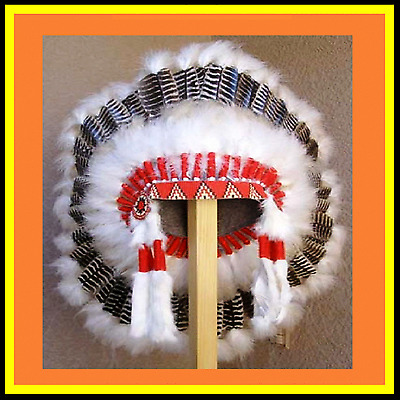"Genuine Native American Navajo Indian Headdress 36"" BARRED TURKEY Brown & White"