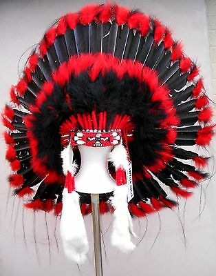 "Genuine Native American Navajo Indian Headdress 36"" BLACKHAWK red & black"