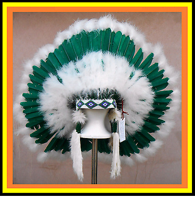 "Genuine Native American Navajo 36"" Indian Headdress EVERGREEN FOREST Green white"