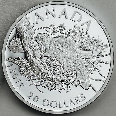 Canada 2013 $20 Beaver 1 Troy oz. 99.99% Pure Silver Proof Coin Uncirculated
