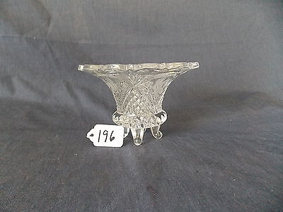 Vintage Cut Crystal Etched Glass Footed Candy Dish Very Nice!!!!