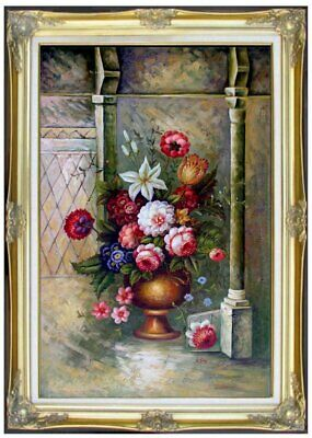 Framed, Still Life with Vase of Flowers, Hand Painted Oil Painting 24x36in