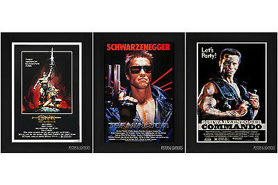 ARNOLD SCHWARZENEGGER TRIPLE PACK Framed Film Posters A4 Black Frame FREEPOST UK