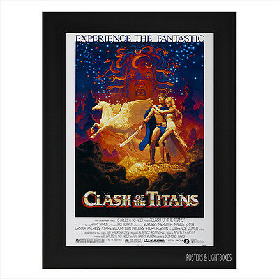 CLASH OF THE TITANS VINTAGE Framed Film Movie Poster A4 Black Frame