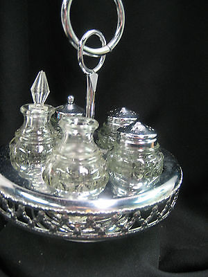 Vintage condiment server with 5  glass containers missing one stopper