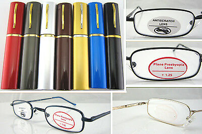 L120 Superb Quality Reading Glasses/Spring Hinges & Aluminum Alloy Pen Tube Case