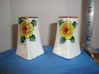 """Antique Hand Painted Sunflower Opalescent S&P Shakers Made in Japan 2 1/4"""" Tall"""