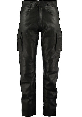 Mens 6 Pockets Jeans Style Black Combat Cargo Leather Trousers Pants Amours Avai