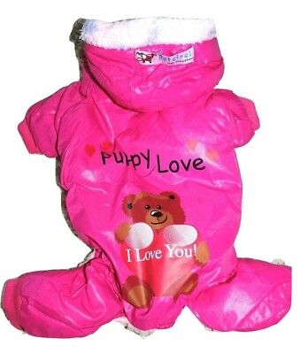 Dog Cat Clothes Fur Coat Pants Overall Snowsuit Warm Winter PINK For SMALL Pet