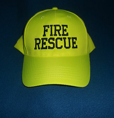 FIRE RESCUE Hat Hi Viz  Hi Vis Firefighter Fire Department Safety Yellow