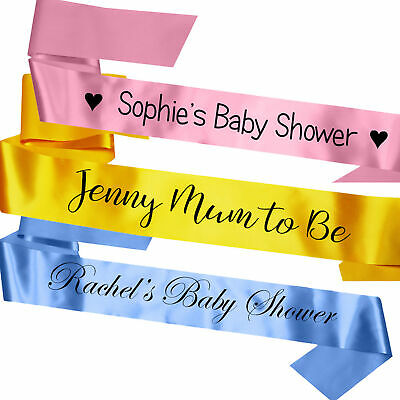 Personalised Satin Baby Shower Party Sash Pink Blue Gift Mum To Be Decoration