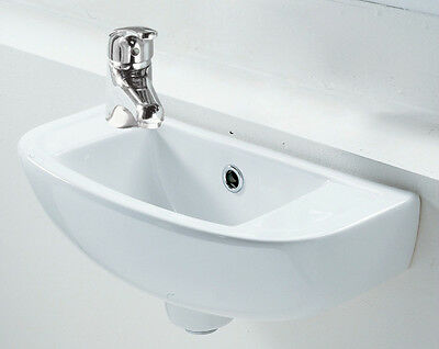 Small Square Compact Basin Sink Wall Hung 450 X 210 Left Hand Bathroom Utility