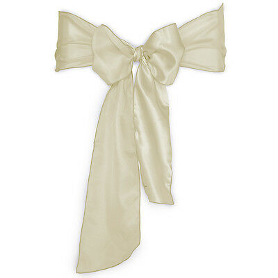 100 Ivory Satin Chair Covers Sash Bow Wedding Party NEW