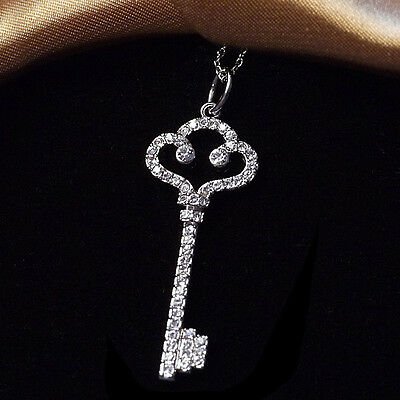 18K White Gold Plated Cloud Key Pendant/Necklace w/ Swarovski Crystals N39