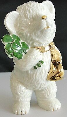 Teddy Bear Adorable Irish Figurine Lefton China Green Shamrocks Gold Scarf